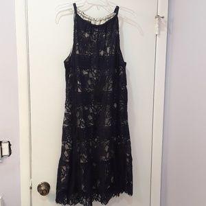MACYS Alfani Navy Lace Overlay dress 18W